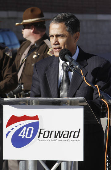 Victor Mendez, Federal Highway Administrator, speaking during grand opening ceremonies for the east bound lanes of the I-40 Crosstown in Oklahoma City Thursday, Jan. 5, 2012. Photo by Paul B. Southerland, The Oklahoman