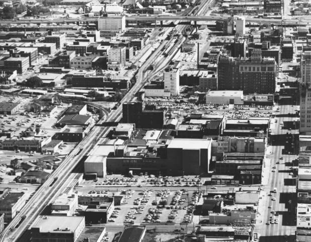 OKLAHOMA CITY / SKY LINE / OKLAHOMA / AERIAL VIEWS / AERIAL PHOTOGRAPHY / AIR VIEWS:  DOWNTOWN OKC.  Photo dated 04/25/1968 and unpublished.  Photo arrived in library 04/28/1968.
