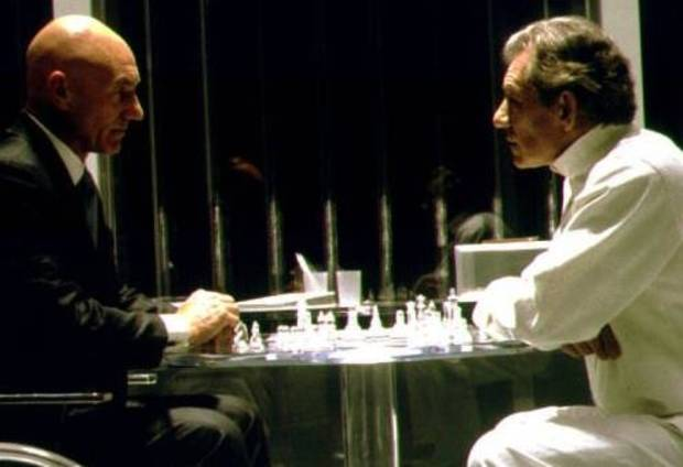 "Patrick Stewart as Professor X, left, and Ian McKellen as Magneto in ""X-Men."""