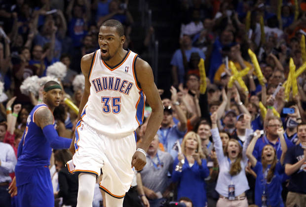 Oklahoma City's Kevin Durant (35) celebrates during NBA basketball game between the Oklahoma City Thunder and the New York Knicks at the Chesapeake Energy Arena, Sunday, April 7, 2013, in Oklahoma City. Photo by Sarah Phipps, The Oklahoman