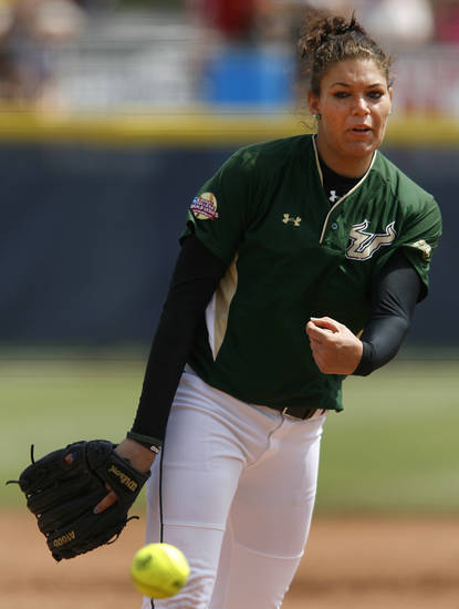 USF's Sara Nevins pitches during a Women's College World Series game between Louisiana State University and the University of South Florida at ASA Hall of Fame Stadium in Oklahoma City, Saturday, June 2, 2012.  Photo by Garett Fisbeck, The Oklahoman