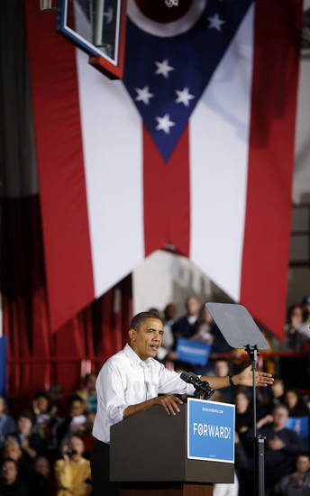 President Barack Obama speaks to supporters during a campaign event at Mentor High School, Saturday, Nov. 3, 2012, in Mentor, Ohio. (AP Photo/Pablo Martinez Monsivais)