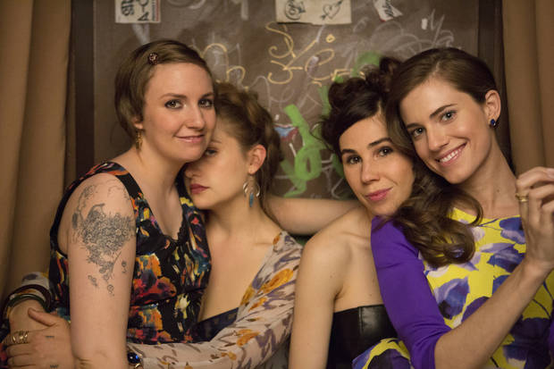 GIRLS Season 3: Lena Dunham, Jemima Kirke, Zosia Mamet, Alison Williams. Photo by Jessica Miglio/HBO