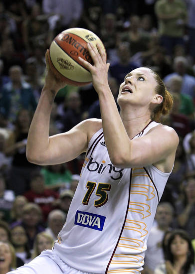 FILE - In this Sept. 14, 2010, file photo, Seattle Storm's Lauren Jackson shoots against the Atlanta Dream during the second half of Game 2 of the WNBA basketball finals, in Seattle. (AP Photo/Elaine Thompson, File) ORG XMIT: NY166