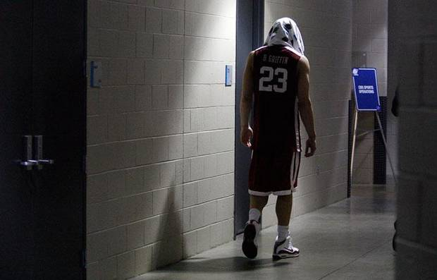Oklahoma's Blake Griffin walks to a post game interview after the 72-60 loss to North Carolina in the Elite Eight game of NCAA Men's Basketball Regional between the University of North Carolina and the University of Oklahoma at the FedEx Forum on Sunday, March 29, 2009, in Memphis, Tenn.  PHOTO BY CHRIS LANDSBERGER, THE OKLAHOMAN