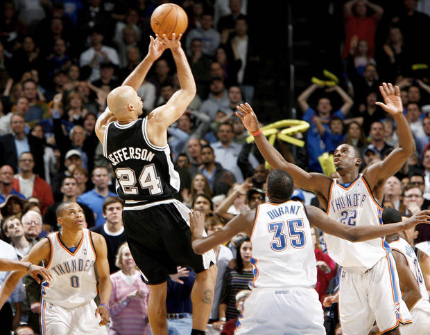 San Antonio&amp;#8217;s Richard Jefferson shoots the game-winning basket over Oklahoma City&amp;#8217;s Russell Westbrook, left, Kevin Durant, and Jeff Green during Wednesday&amp;#8217;s gamea at the Ford Center. Photo by Bryan Terry, The Oklahoman