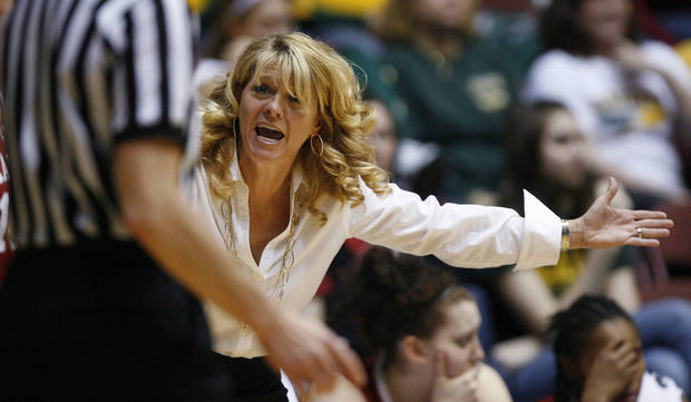 OU coach Sherri Coale shouts at an official during the women's college basketball Big 12 Championship tournament game between the University of Oklahoma and Texas A&M in Kansas City, Mo., Friday, March 11, 2011.  Photo by Bryan Terry, The Oklahoman