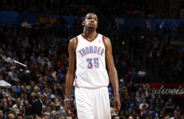 Oklahoma City's Kevin Durant (35) walks on the court after a timeout in the fourth quarter during the NBA basketball game between the Oklahoma City Thunder and Portland Trail Blazers at Chesapeake Energy Arena in Oklahoma City, Tuesday, Jan. 3, 2012. Portland won, 103-93. Photo by Nate Billings, The Oklahoman