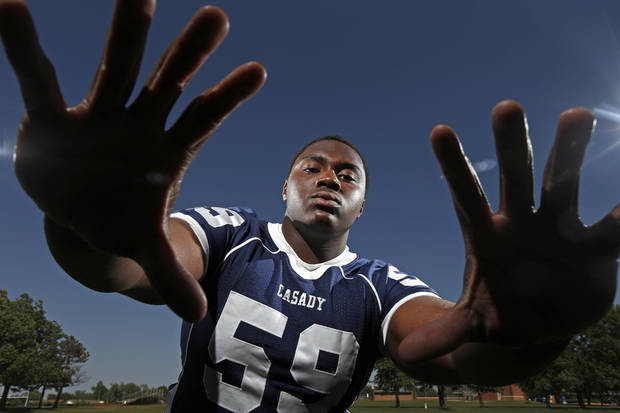 Casady football player Josh Wariboko-Alali poses for a photo at Casady High School in Oklahoma City, Tuesday, May 15, 2013. Photo by Bryan Terry, The Oklahoman