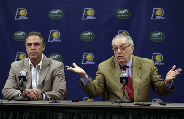 Indiana Pacers President of Basketball Operations Donnie Walsh, right, and General Manager Kevin Pritchard discuss the NBA basketball teams' season and upcoming draft during a press conference in Indianapolis, Thursday, June 13, 2013.  (AP Photo/Michael Conroy)