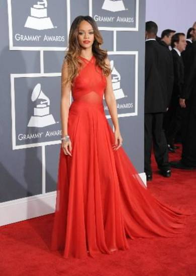 Rihanna arrives at the 55th annual Grammy Awards on Sunday, Feb. 10, 2013, in Los Angeles. (AP)