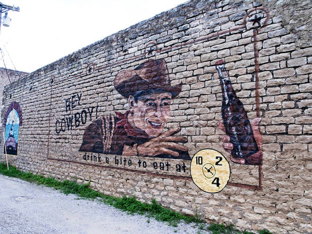 A mural just around the corner from the Dr Pepper plant in Dublin, Texas.