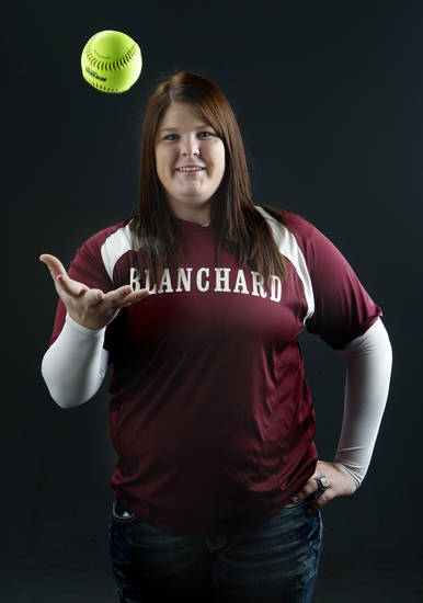 Blanchard softball player Leslie Miller poses for photo in the OPUBCO studios.,  Tuesday, Nov. 22, 2011.  Photo by Sarah Phipps, The Oklahoman