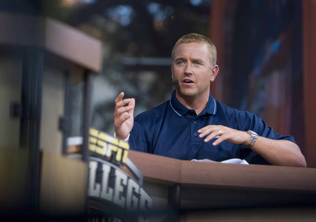 ESPN's Kirk Herbstreit films a segement for the College GameDay on the University of Texas campus at Austin, Friday, Aug. 26, 2011, in Austin, Texas. ESPN and Texas announced a $300-million, 20-year deal in January to create and launch the Longhorn Network, a 24-hour channel dedicated to Longhorns sports. The network will broadcast the Texas football season-opener Sept. 3 against Rice. (AP Photo/Austin American-Statesman, Ricardo B. Brazziell) ORG XMIT: TXAUS207