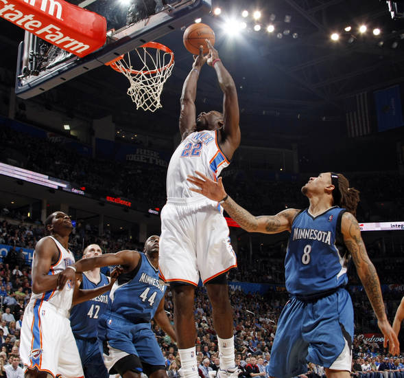 Oklahoma City's Jeff Green (22) takes a shot near Kevin Love (42), Anthony Tolliver (44) and Michael Beasley (8) of Minnesota as well as teammate Kevin Durant (35) during the NBA basketball game between the Minnesota Timberwolves and the Oklahoma City Thunder at the Oklahoma City Arena, Monday, November 22, 2010, in Oklahoma City. Photo by Nate Billings, The Oklahoman