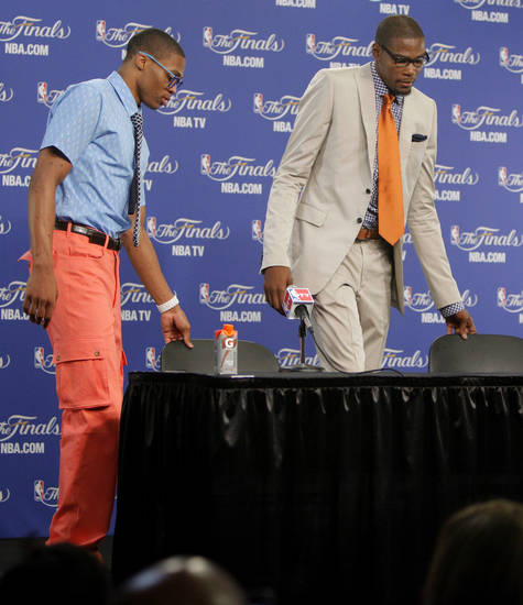 Oklahoma City's Russell Westbrook, and Kevin Durant take their seats for a press conference after Game 2 of the NBA Finals between the Oklahoma City Thunder and the Miami Heat at Chesapeake Energy Arena in Oklahoma City, Thursday, June 14, 2012. Photo by Bryan Terry, The Oklahoman