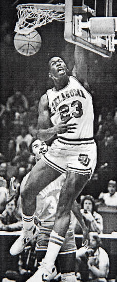 Former OU basketball player Wayman Tisdale. Wayman Tisdale, All-Century OU College Basketball Team. Staff photo by Doug Hoke. Photo taken 1/14/1984, photo published 1/15/1984, 3/15/1984 in The Daily Oklahoman. ORG XMIT: KOD