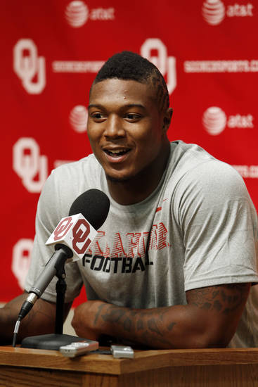 Tony Jefferson speaks with the media during the Meet the Sooners event at the University of Oklahoma on Saturday, Aug. 4, 2012, in Norman, Okla.  Photo by Steve Sisney, The Oklahoman