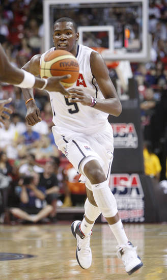 Kevin Durant receives a pass during a USA Basketball men's national team exhibition game, Saturday, July 24, 2010 in Las Vegas. (AP Photo/Isaac Brekken)