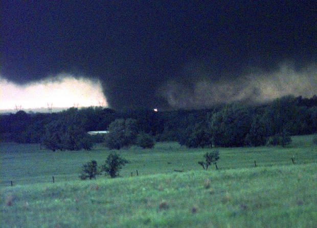 MAY 3, 1999 TORNADO: A TORNADO NORTHWEST OF NORMAN WOULD SOON RIP A PATH THREW MOORE AND OTHER PARTS OF OKC MONDAY NIGHT.