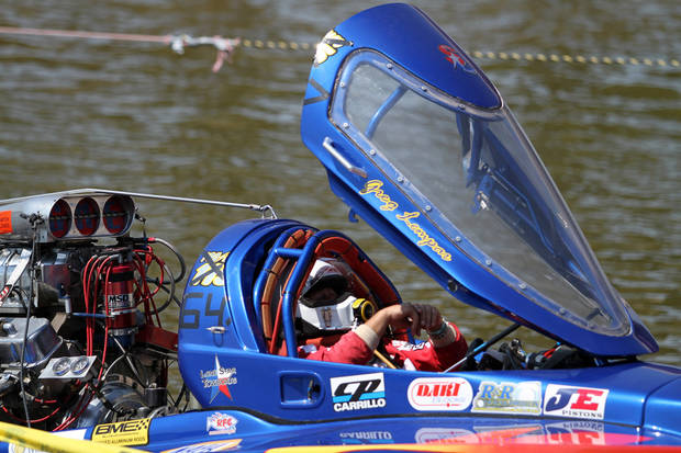 Greg Lempar waits his turn to go down the course during the Oklahoma City Nationals Drag Boat races on the Oklahoma River Saturday, June 9th, 2012. PHOTO BY HUGH SCOTT, FOR THE OKLAHOMAN    ORG XMIT: KOD