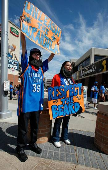 Justin Jones and Candace Chalakee, both from Lawton, wear their Thunder gear and beards before the first game of the NBA basketball finals at the Chesapeake Arena on Tuesday, June 12, 2012 in Oklahoma City, Okla.  Photo by Steve Sisney, The Oklahoman