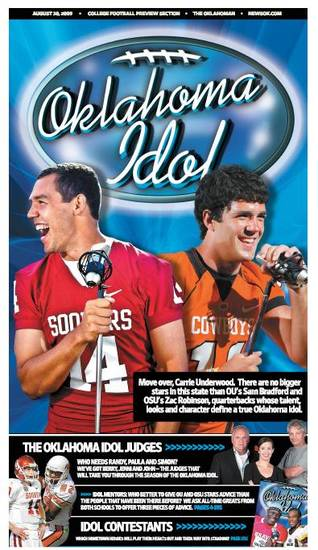 "2009 ""Oklahoma Idol"" football preview cover featuring Sam Bradford and Zac Robinson"