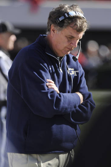 Georgia Tech head coach Paul Johnson reacts on the sideline during the first half of an NCAA college football game against Georgia, Saturday, Nov. 24, 2012, in Athens, Ga. Georgia won 42-10. (AP Photo/John Amis)