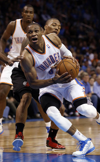 Russell Westbrook (0) drives the lane as the Oklahoma City Thunder play the Portland Trail Blazers in NBA basketball at the Chesapeake Energy Arena in Oklahoma City, on Friday, Nov. 2, 2012.  Photo by Steve Sisney, The Oklahoman