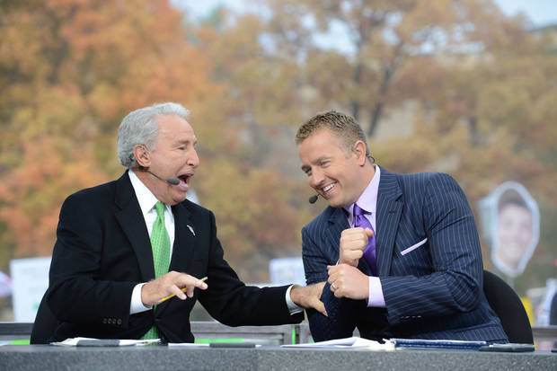 South Bend, IN - October 13, 2012 - Notre Dame Stadium: Lee Corso and Kirk Herbstreit on the set of ESPN College GameDay built by The Home Depot (Photo by Allen Kee / ESPN Images)