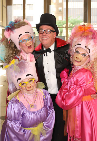 Brenda Williams, front, Lyn Adams, Lance McDaniel, Elin Bhaird have fun at the Oklahoma Children's Theatre Fairy Tale Ball.