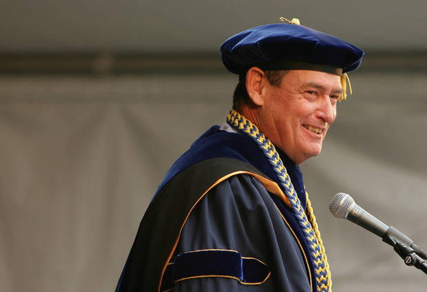   In this June 12, 2011 photo, Chancellor Timothy White speaks during the University of California, Riverside Commencement ceremony. On Thursday, Oct. 4, 2012, the California State University named Timothy P. White as the next chancellor of the 23-campus system. (AP Photo/The Press Enterprise, Stan Lim) MANDATORY CREDIT, NO MAGS, NO SALES  