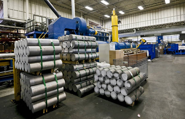 Billet aluminum cylinders used for production at the MD Building Products plant on Wednesday, Jan. 2, 2013, in Oklahoma City, Okla. Photo by Chris Landsberger, The Oklahoman