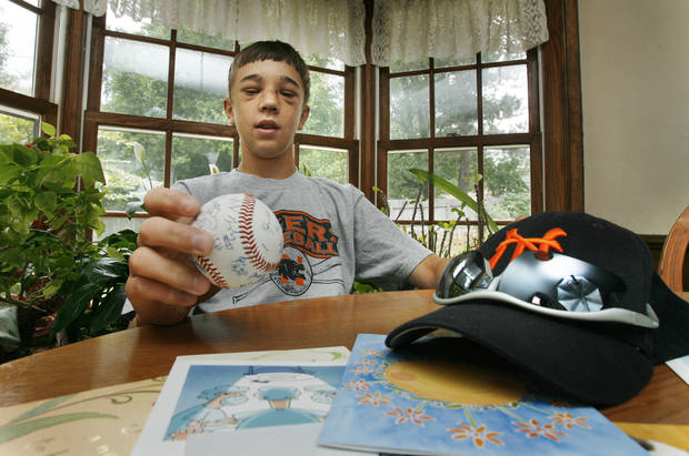 Dillon Yeaman, 15, is a pitcher recovering from a direct hit in the face from a ball hit by an aluminum baseball bat in Norman, Oklahoma on Wednesday, July 12, 2006. Photo by Steve Sisney/The Oklahoman Archives
