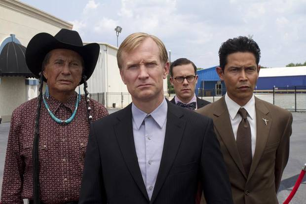 From left to right – Russell Means, Ulrich Thomsen, Matthew Rauch, Anthony Ruivivar - Photo ourtesy of Fred Norris/Cinemax.