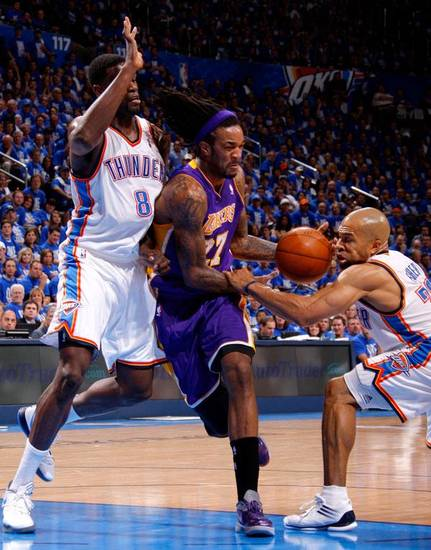 Oklahoma City's Nazr Mohammed (8) and Derek Fisher (37) defend Los Angeles' Jordan Hill (27) during Game 1 in the second round of the NBA playoffs between the Oklahoma City Thunder and L.A. Lakers at Chesapeake Energy Arena in Oklahoma City, Monday, May 14, 2012. Photo by Bryan Terry, The Oklahoman