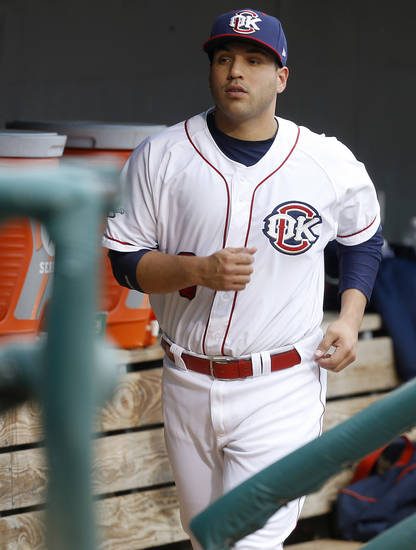 Jason Jaramillo of the Oklahoma City Redhawks stands in the dugout before a baseball game against the Round Rock Express at Chickasaw Bricktown Ballpark in Oklahoma City, Tuesday, April 16, 2013. Photo by Bryan Terry, The Oklahoman