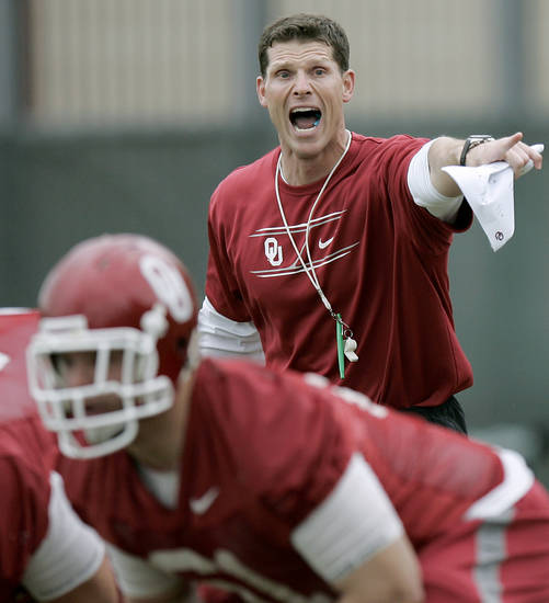 Brent Venables coaches the Sooners during the first day of spring practice at the University of Oklahoma in Norman on Monday, March 21, 2011. Photo by John Clanton, The Oklahoman