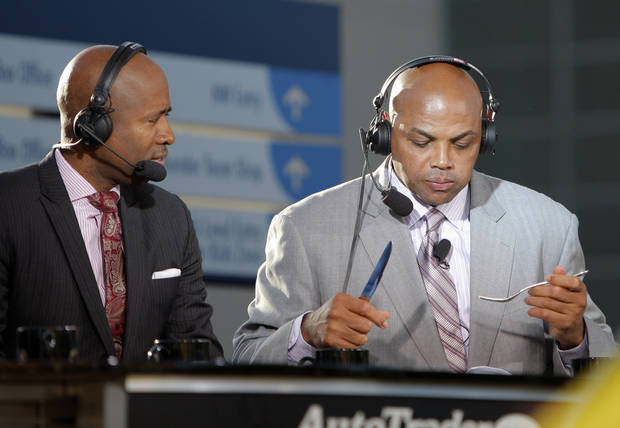 Charles Barkley eats a dinner courtesy of  Gov. Mary Fallin during game three of the Western Conference Finals in the NBA playoffs between the Oklahoma City Thunder and the San Antonio Spurs at Chesapeake Energy Arena in Oklahoma City, Thursday, May 31, 2012. Photo by Sarah Phipps, The Oklahoman