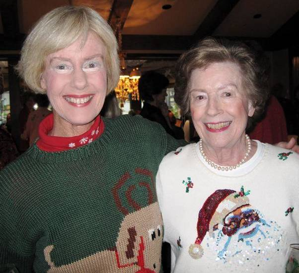 CHRISTMAS CELEBRATING...Linda Bonebrake and Gladys London celebrate  the season. (Photo by Helen Ford Wallace).