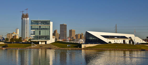 The Oklahoma City skyline is seen behind the Chesapeake finish line tower and the Devon Boathouse during the Oklahoma Regatta Festival at the Oklahoma River on Saturday, Oct. 1, 2011, in Oklahoma City, Okla. Photo by Chris Landsberger, The Oklahoman