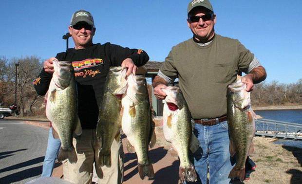 Calera anglers Jeff Reynolds and Johnny Thompson had a big day on Arbuckle Lake last weekend. PHOTO PROVIDED