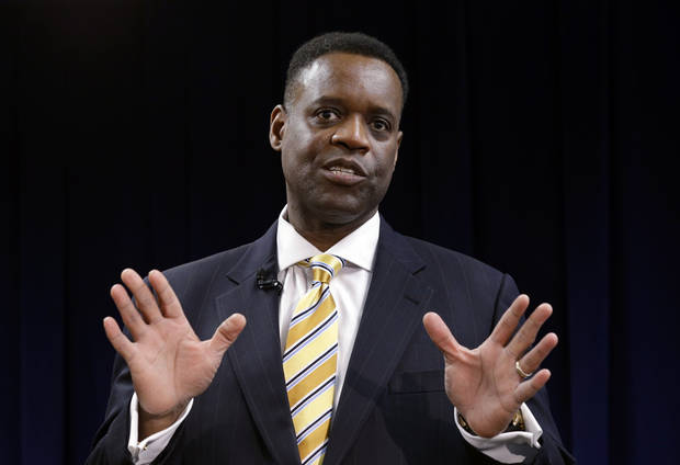 FILE - In this March 14, 2013 file photo, state-appointed emergency manager Kevyn Orr speaks in Detroit. Orr on Thursday, July 18, 2013, asked a federal judge permission to place Detroit into Chapter 9 bankruptcy protection. (AP Photo/Paul Sancya, File)