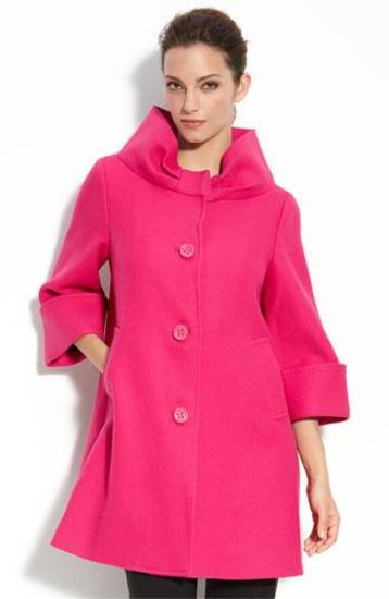 "Kate Spade ""Cherie"" retro-inspired wool coat with dramatic collar and bracelet-length bell sleeves, $695."