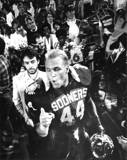 During the Sooners' 1985-86 Orange Bowl, OU linebacker Brian Bosworth left no question as to who was No. 1. OU beat the Penn State 25-10 to win the title. PHOTO BY JIM ARGO, The Oklahoman Archive