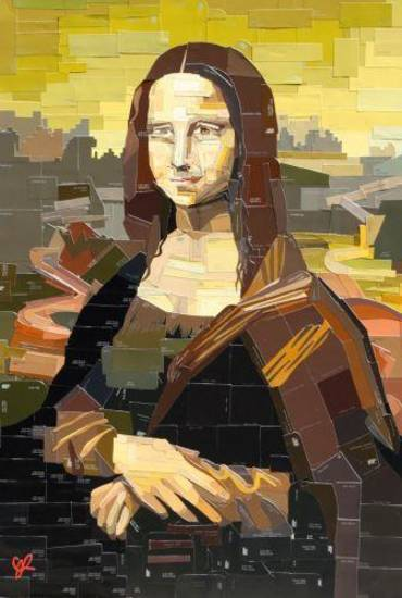 "Dallas ""swatch"" painter Jennifer Lashbrook, the featured artist at the 2013 Arts Festival Oklahoma, created her ""DIY Mona Lisa"" out of carefully cut out and arranged paint swatches."