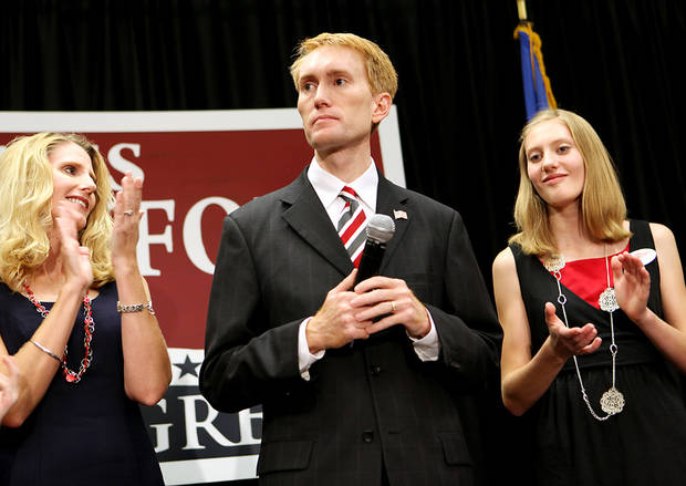 With his wife Cindy and daughter Hannah (right) looking on, James Lankford speaks to supporters during a watch party at the Oklahoma Sports Hall of Fame in Oklahoma City on Tuesday, August 24, 2010. Photo by John Clanton, The Oklahoman