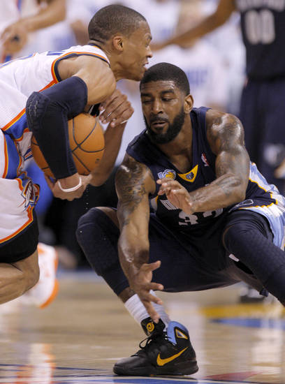 Oklahoma City's Russell Westbrook (0) tries to get past O.J. Mayo (32) of Memphis during game five of the Western Conference semifinals between the Memphis Grizzlies and the Oklahoma City Thunder in the NBA basketball playoffs at Oklahoma City Arena in Oklahoma City, Wednesday, May 11, 2011. Photo by Bryan Terry, The Oklahoman