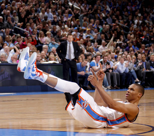Oklahoma City's Russell Westbrook (0) reacts during an NBA basketball game between the Oklahoma City Thunder and the Los Angeles Lakers at Chesapeake Energy Arena in Oklahoma City, Thursday, Feb. 23, 2012.  Oklahoma City won 100-85. Photo by Bryan Terry, The Oklahoman
