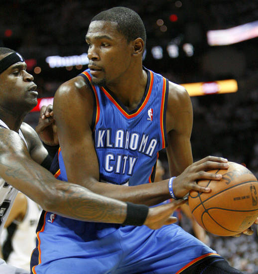 Oklahoma City's Kevin Durant (35) tries to get past San Antonio's Stephen Jackson (3) during Game 5 of the Western Conference Finals between the Oklahoma City Thunder and the San Antonio Spurs in the NBA basketball playoffs at the AT&T Center in San Antonio, Monday, June 4, 2012. Photo by Nate Billings, The Oklahoman